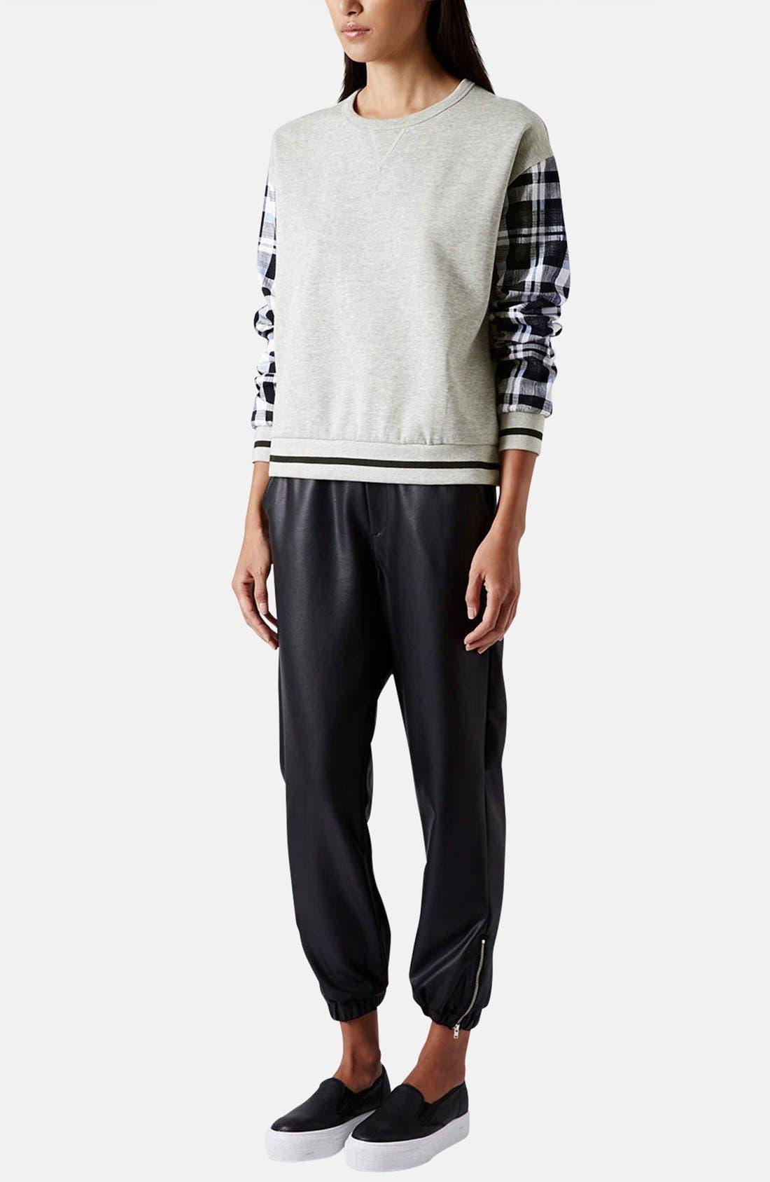 Alternate Image 5  - Topshop Check Sleeve Sweatshirt