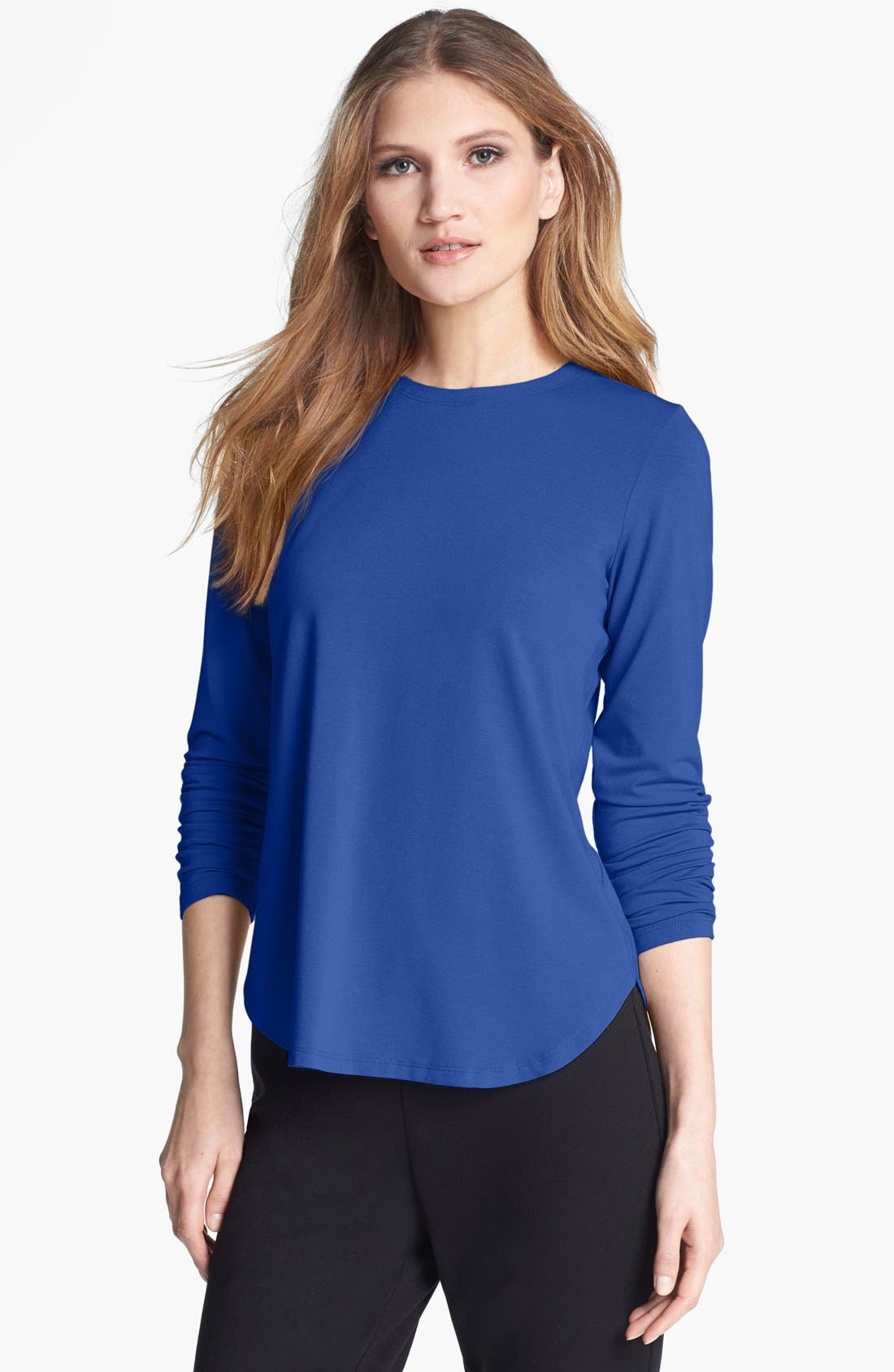 Main Image - Eileen Fisher Stretch Jersey Crewneck Tee (Petite)