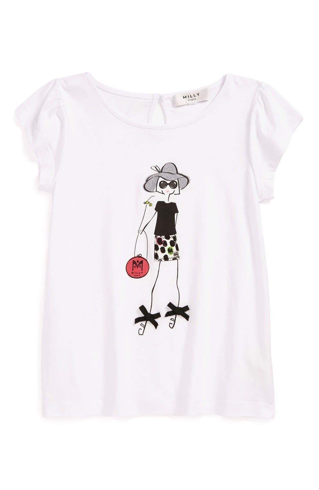 Alternate Image 1 Selected - Milly Minis Graphic Tee (Toddler Girls, Little Girls & Big Girls)