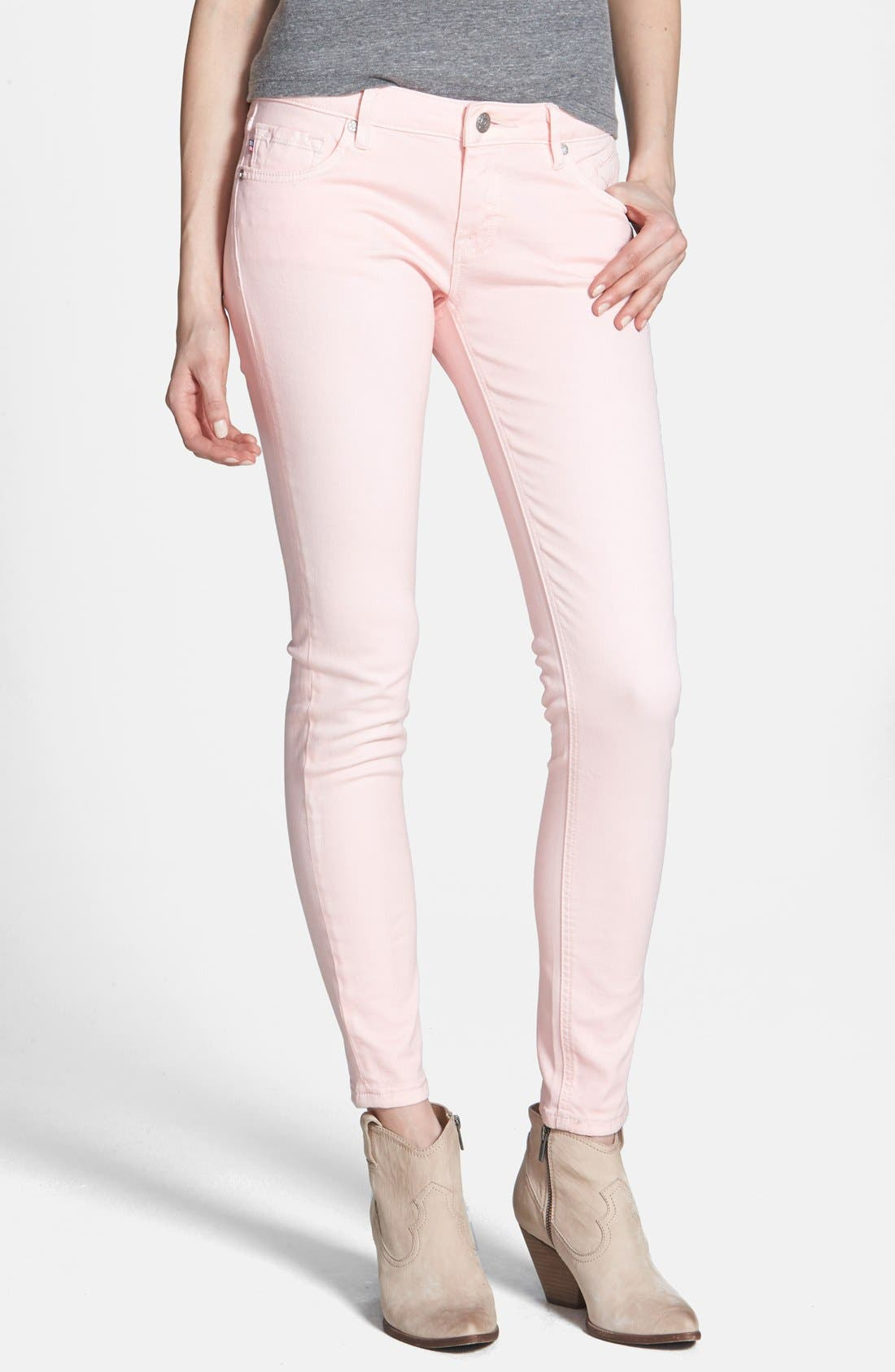 Alternate Image 1 Selected - Vigoss Skinny Ankle Jeans (Light Pink) (Juniors) (Online Only)