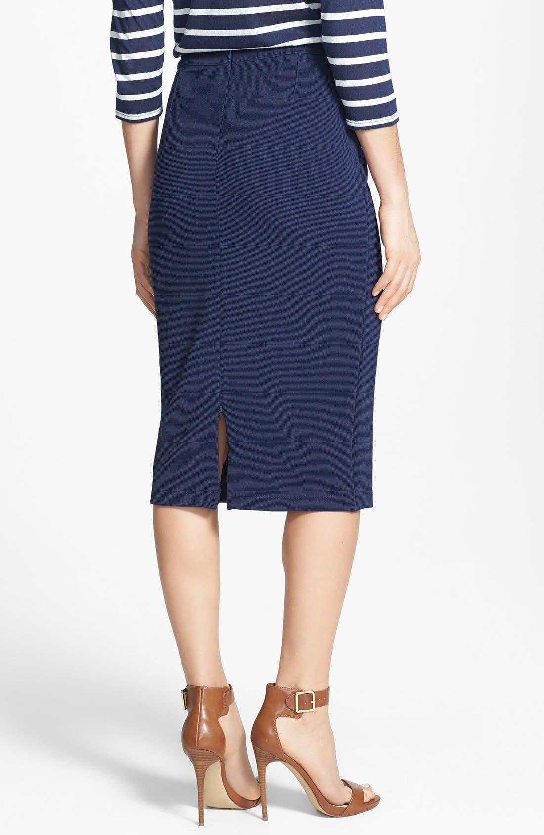 Alternate Image 2  - Halogen® Ottoman Rib Tube Skirt (Regular & Petite)