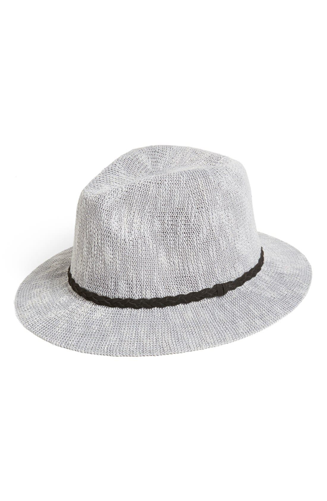 Main Image - BP. 'Panama' Slub Knit Fedora (Juniors) (Online Only)