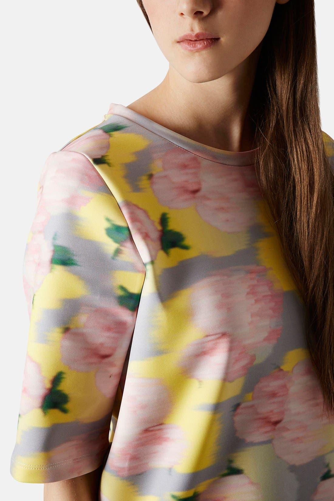 Alternate Image 4  - Topshop 'Blurred Floral' Print Scuba Top