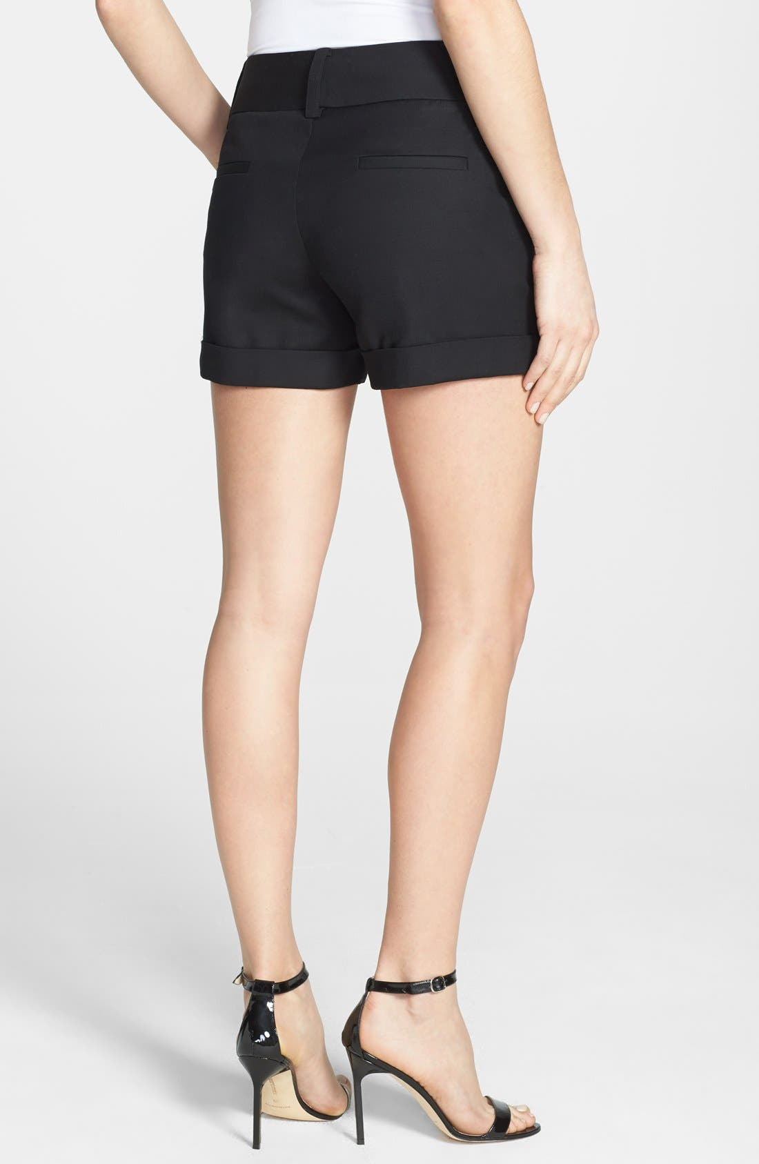 Alternate Image 2  - Vince Camuto Flat Front Cuff Stretch Cotton Shorts (Regular & Petite)