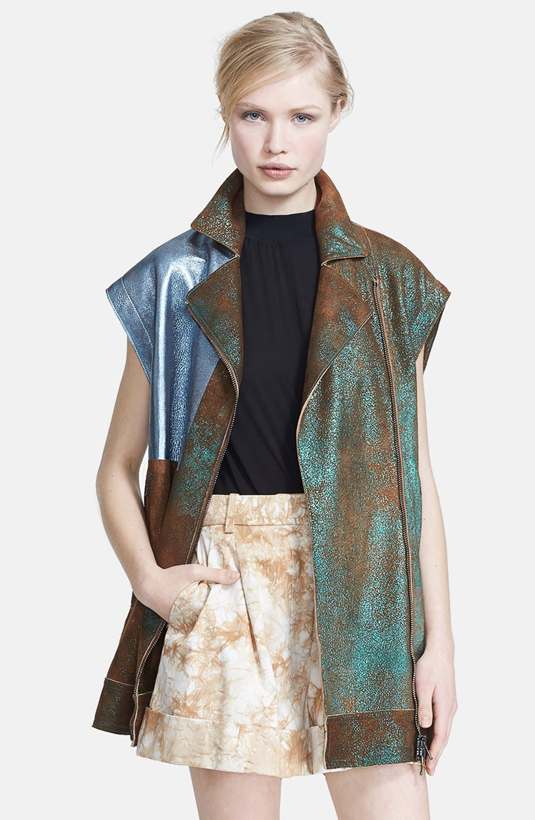 Alternate Image 1 Selected - 3.1 Phillip Lim Foiled Moto Leather Vest