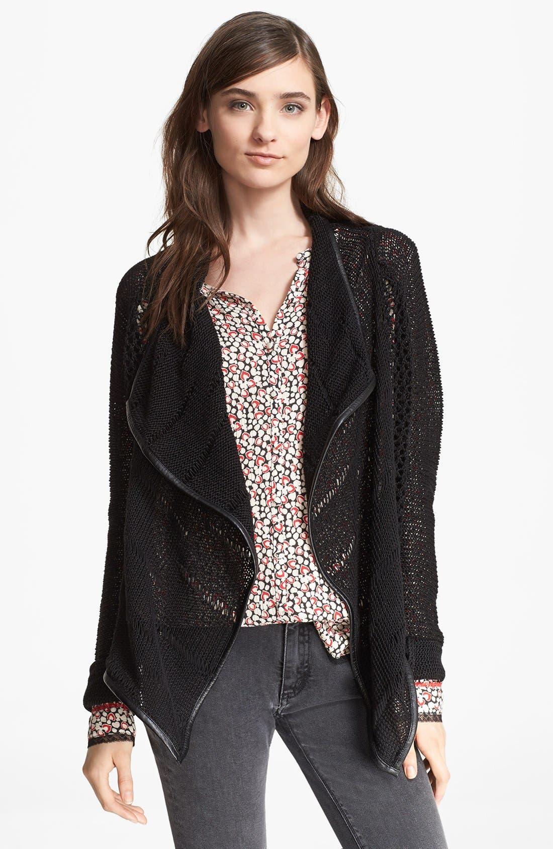 Main Image - Zadig & Voltaire 'Daphnee' Leather Trim Leather Cardigan