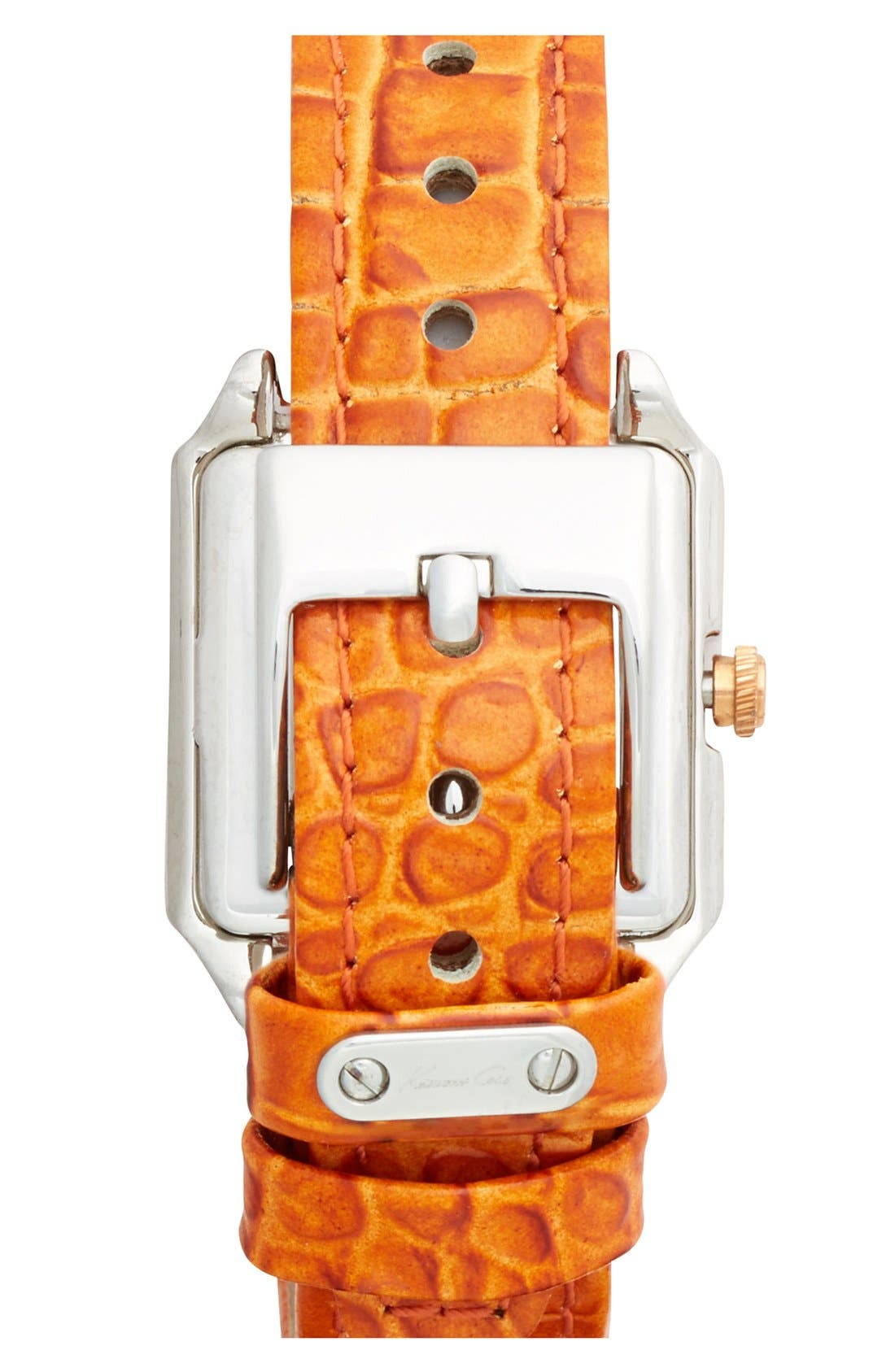 Alternate Image 2  - Kenneth Cole New York 'Classic' Square Embossed Leather Strap Watch, 26mm