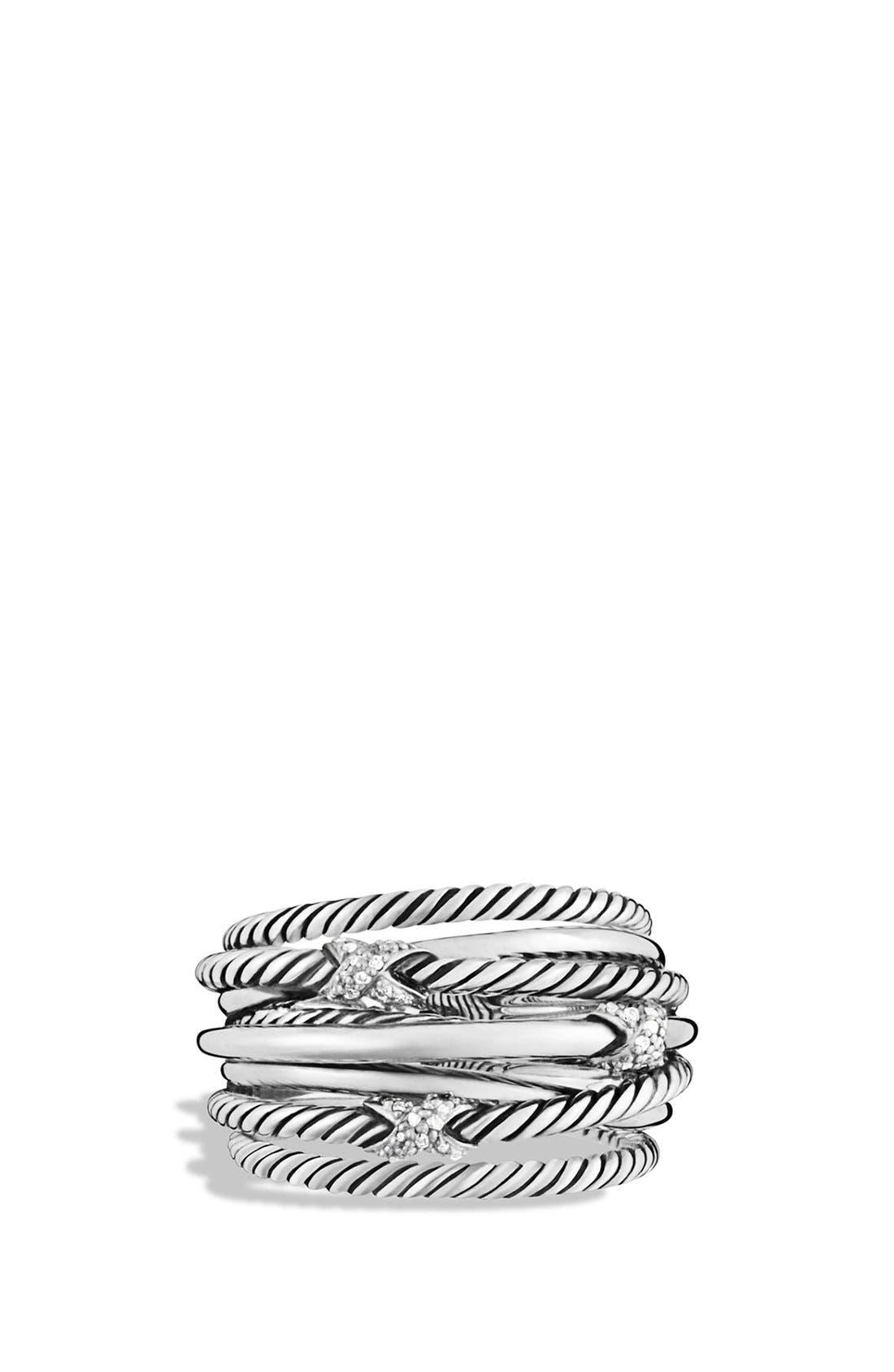 Alternate Image 3  - David Yurman 'Three X Crossover' Ring with Diamonds