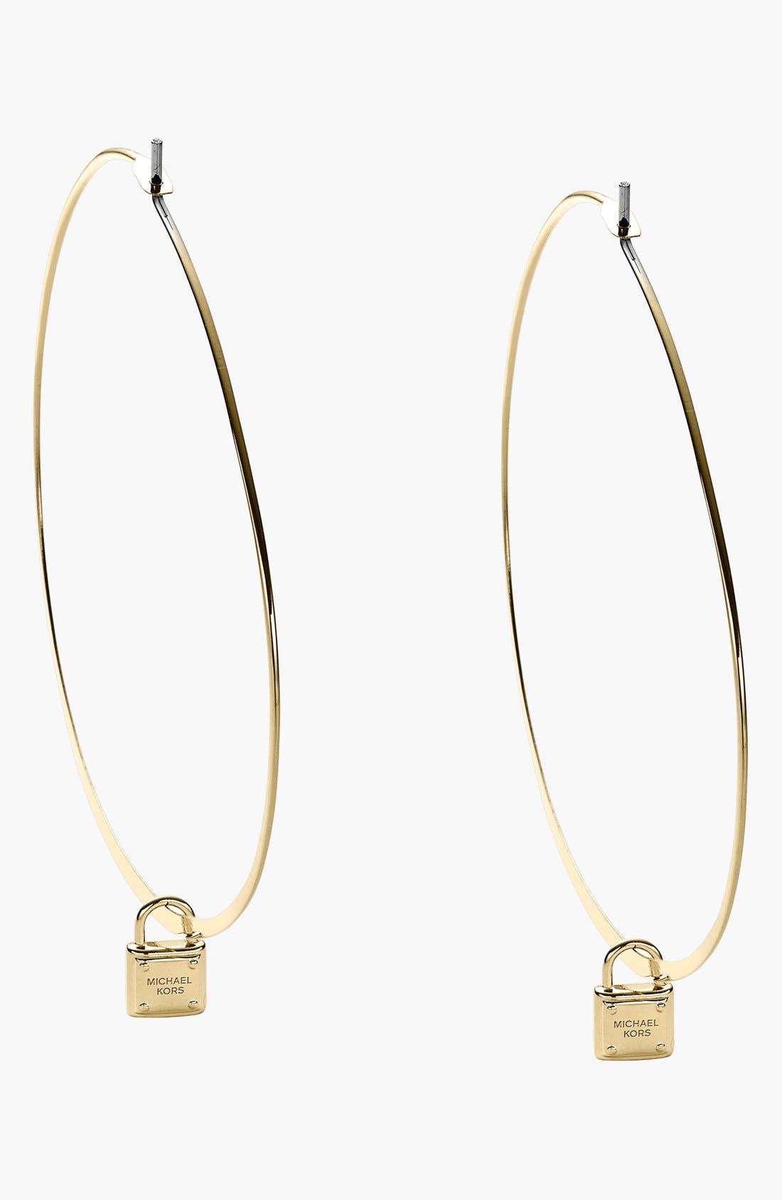Alternate Image 1 Selected - Michael Kors 'Motif Brilliance' Padlock Hoop Earrings
