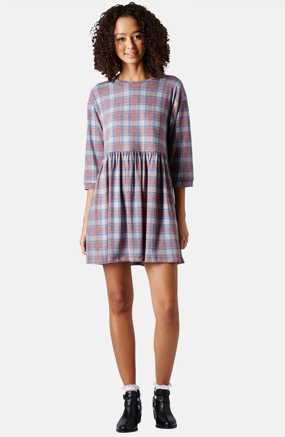 Alternate Image 1 Selected - Topshop Check Smock Dress