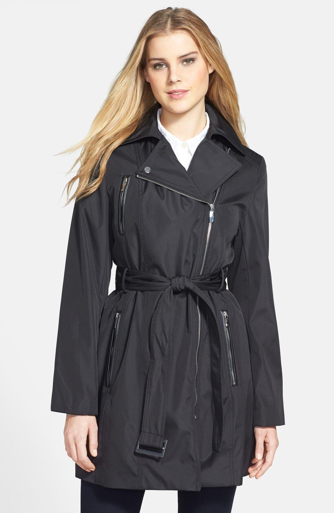 Alternate Image 1 Selected - Calvin Klein Asymmetric Zip Trench Raincoat
