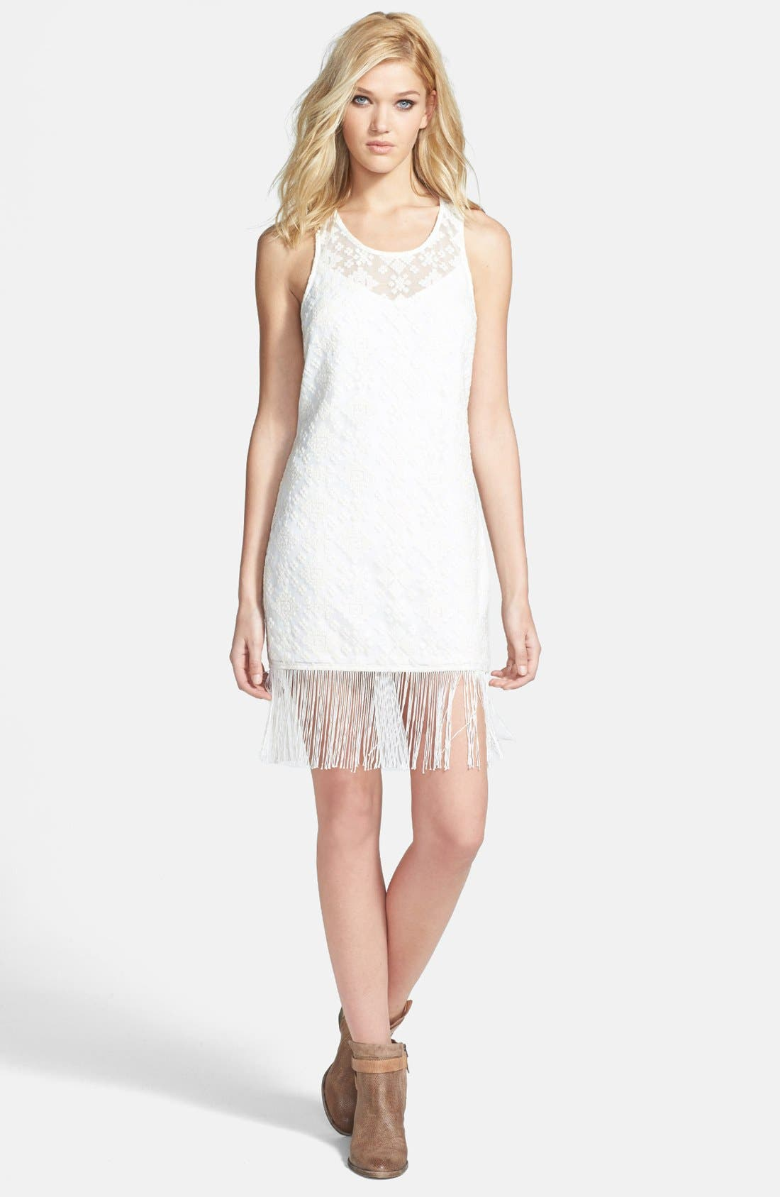 Alternate Image 1 Selected - ASTR Embroidered Mesh Fringed Body-Con Dress