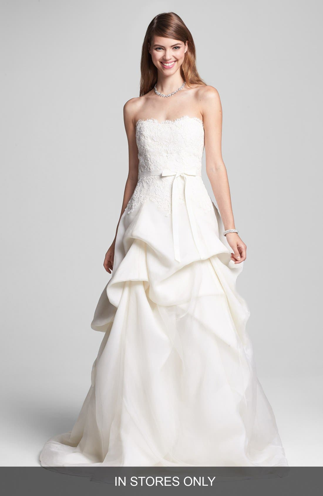 BLISS Monique Lhuillier Embroidered Lace & Tiered Organza Dress (In Stores Only)