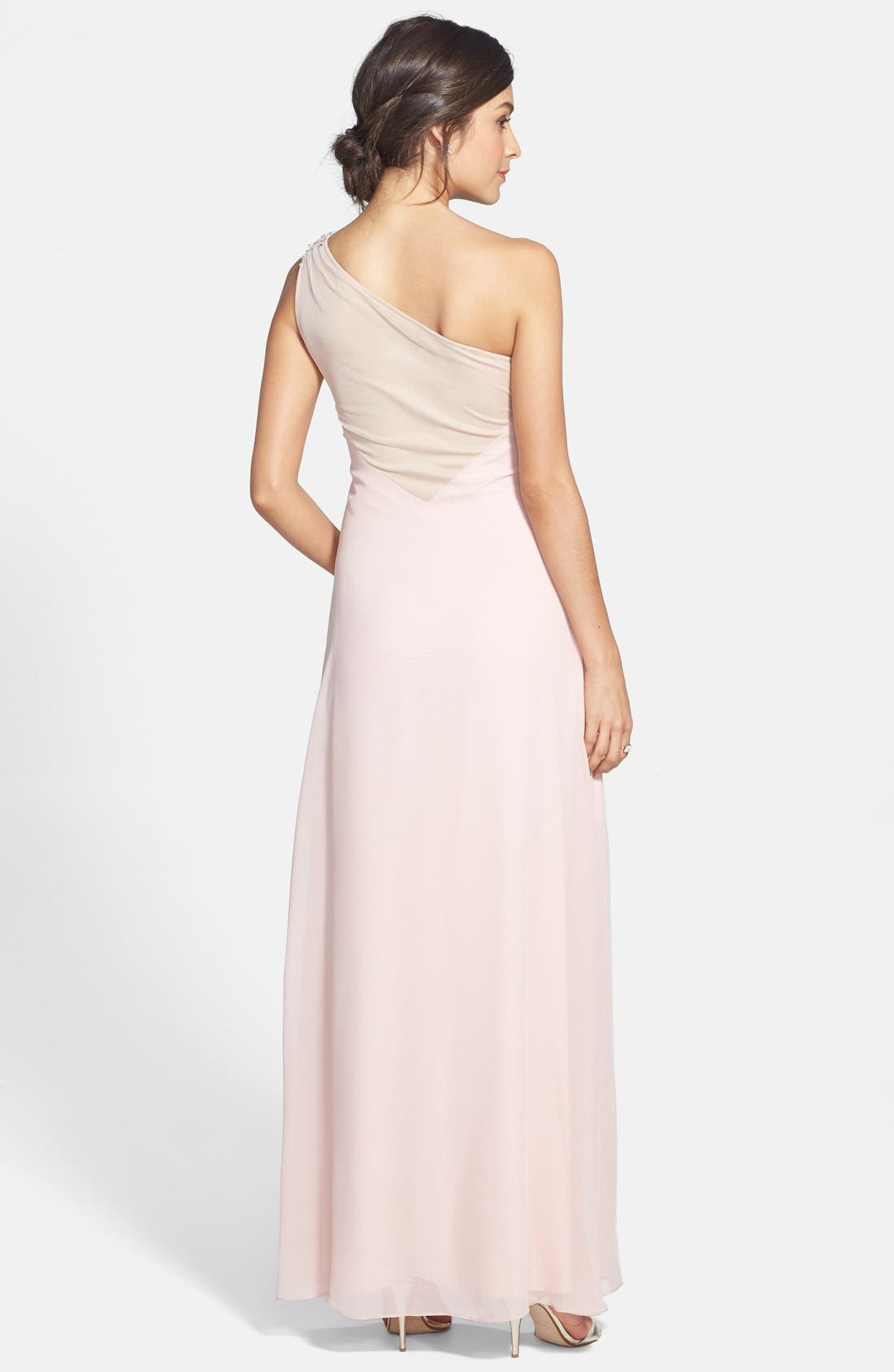 Alternate Image 2  - Hailey by Adrianna Papell Embellished One-Shoulder Side Ruched Gown