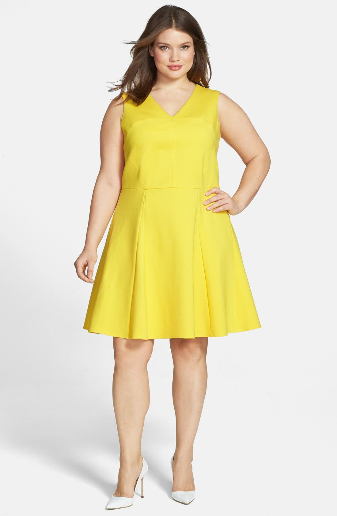Main Image - ABS by Allen Schwartz Sleeveless Fit & Flare Dress (Plus Size)