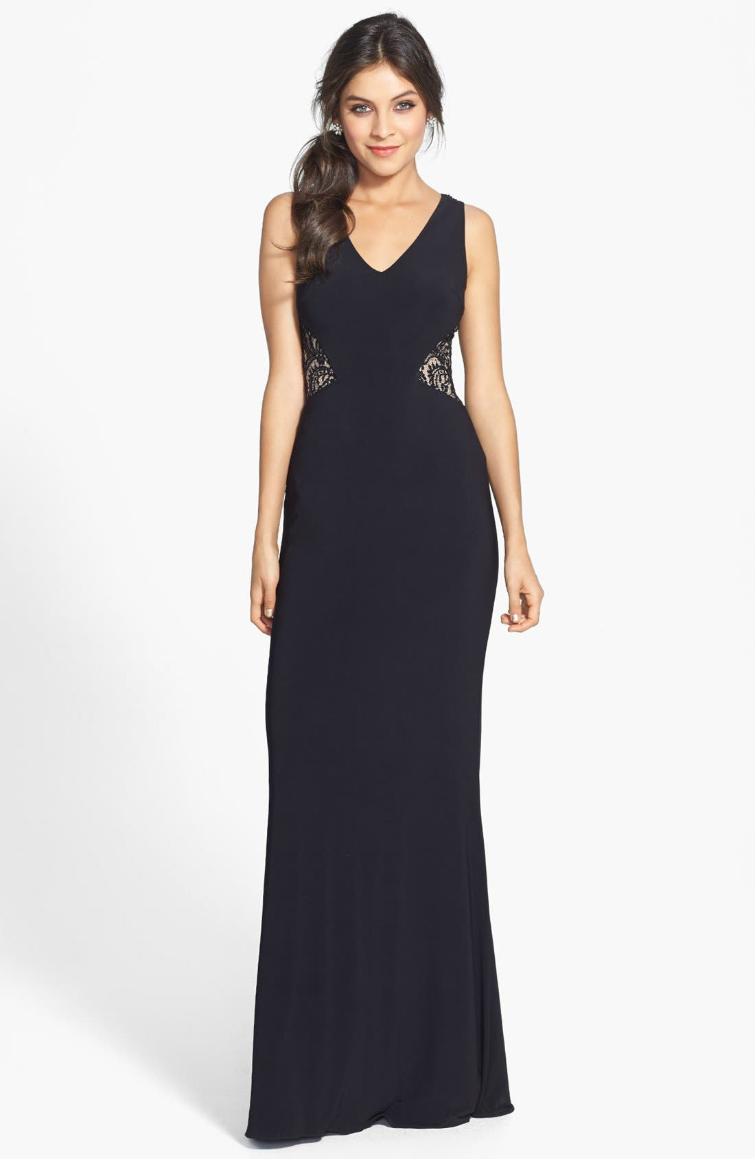 Alternate Image 1 Selected - JS Boutique Lace Back V-Neck Matte Jersey Gown