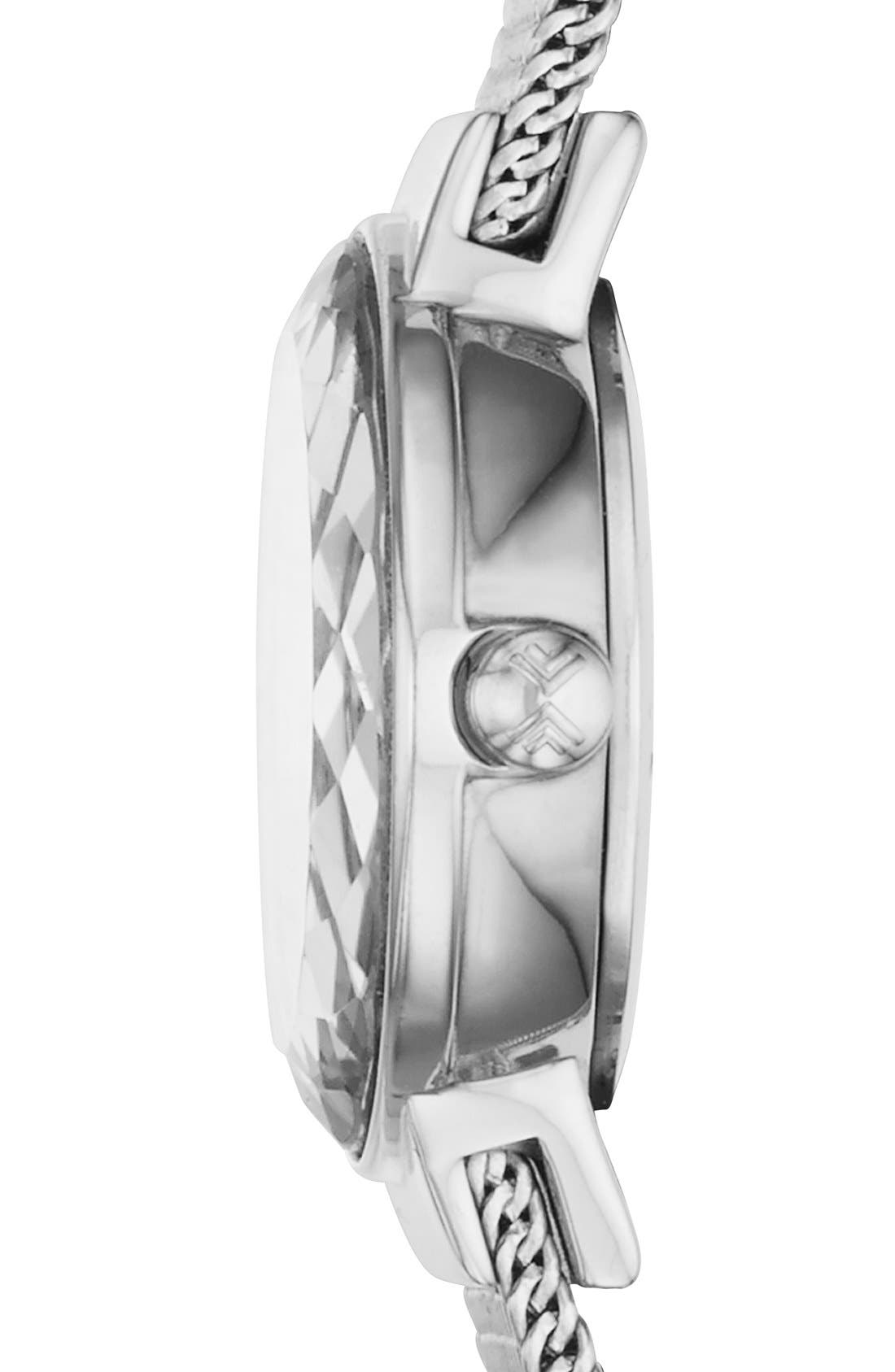 Alternate Image 3  - Skagen 'Leonora' Faceted Bezel Mesh Strap Watch, 20mm