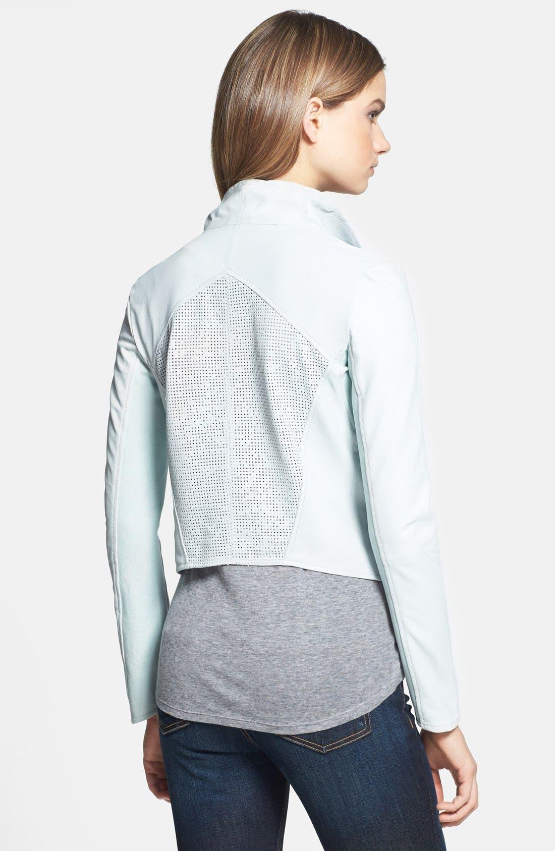 Alternate Image 2  - LaMarque Perforated Back Leather Jacket