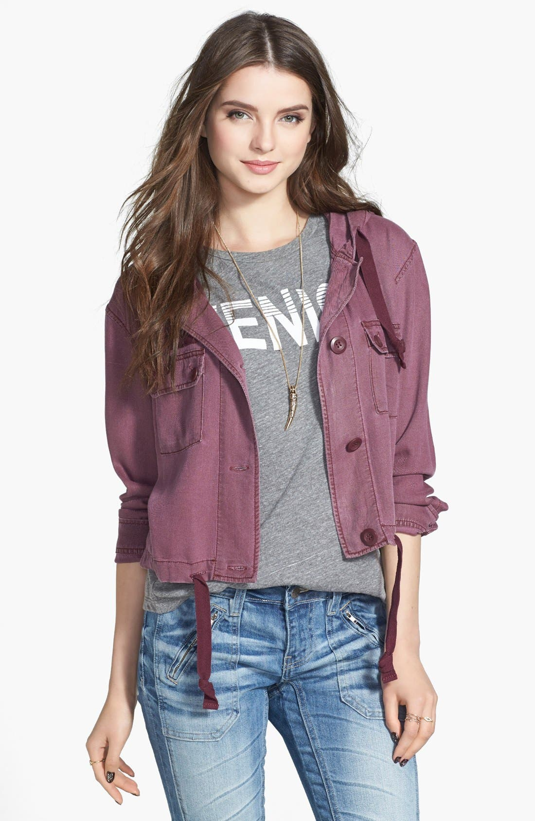 Alternate Image 1 Selected - BP. Hooded Crop Chambray Jacket (Juniors)
