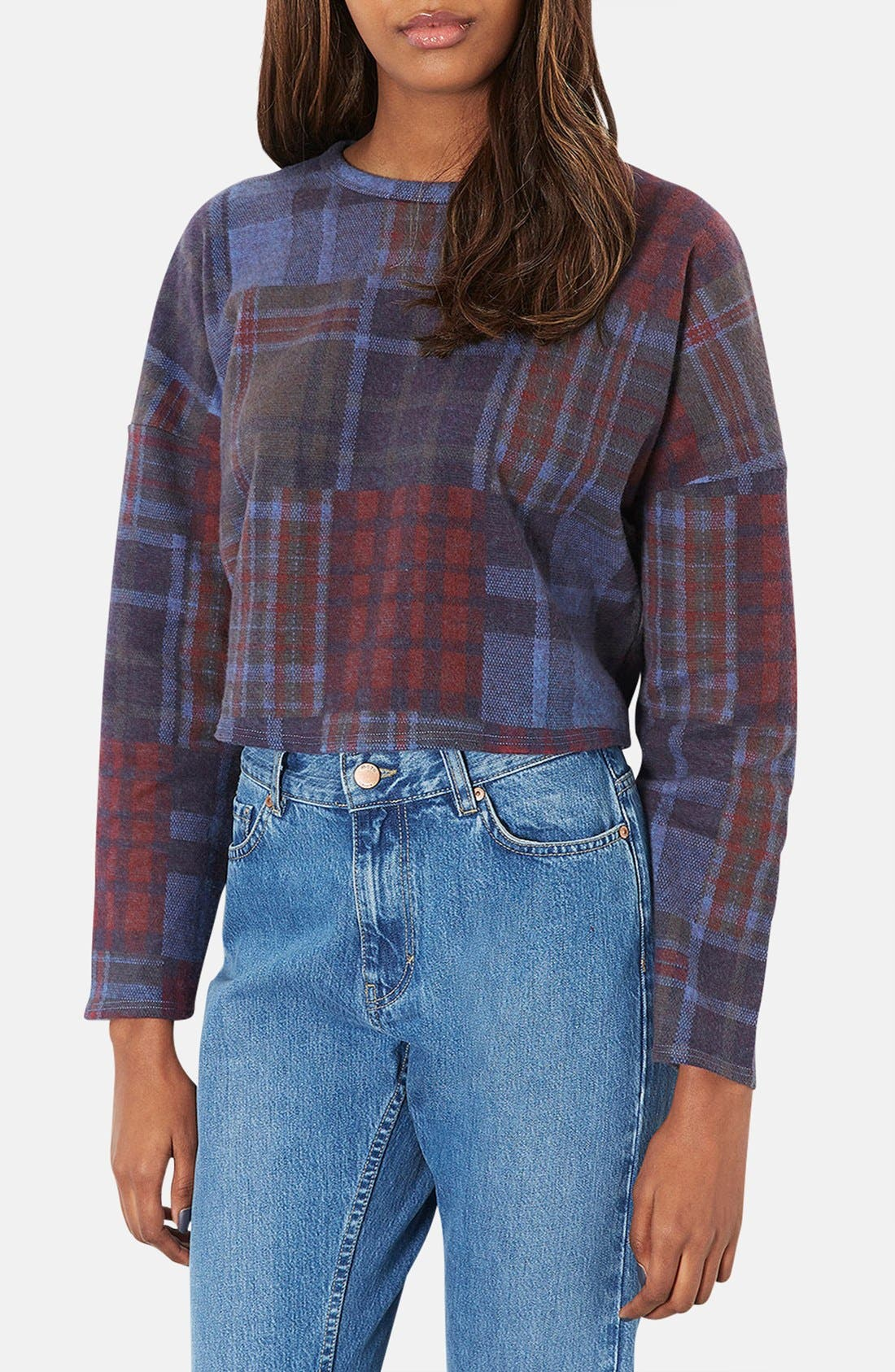 Main Image - Topshop Mixed Plaid Crop Sweater (Petite)