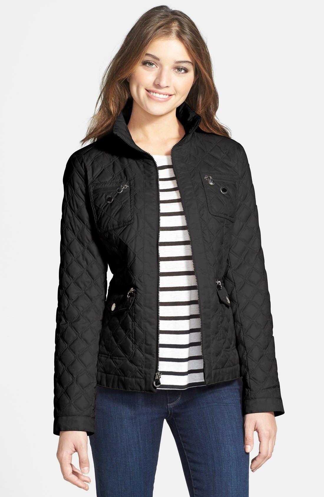 Alternate Image 1 Selected - Laundry by Shelli Segal Four Pocket Hooded Quilted Jacket