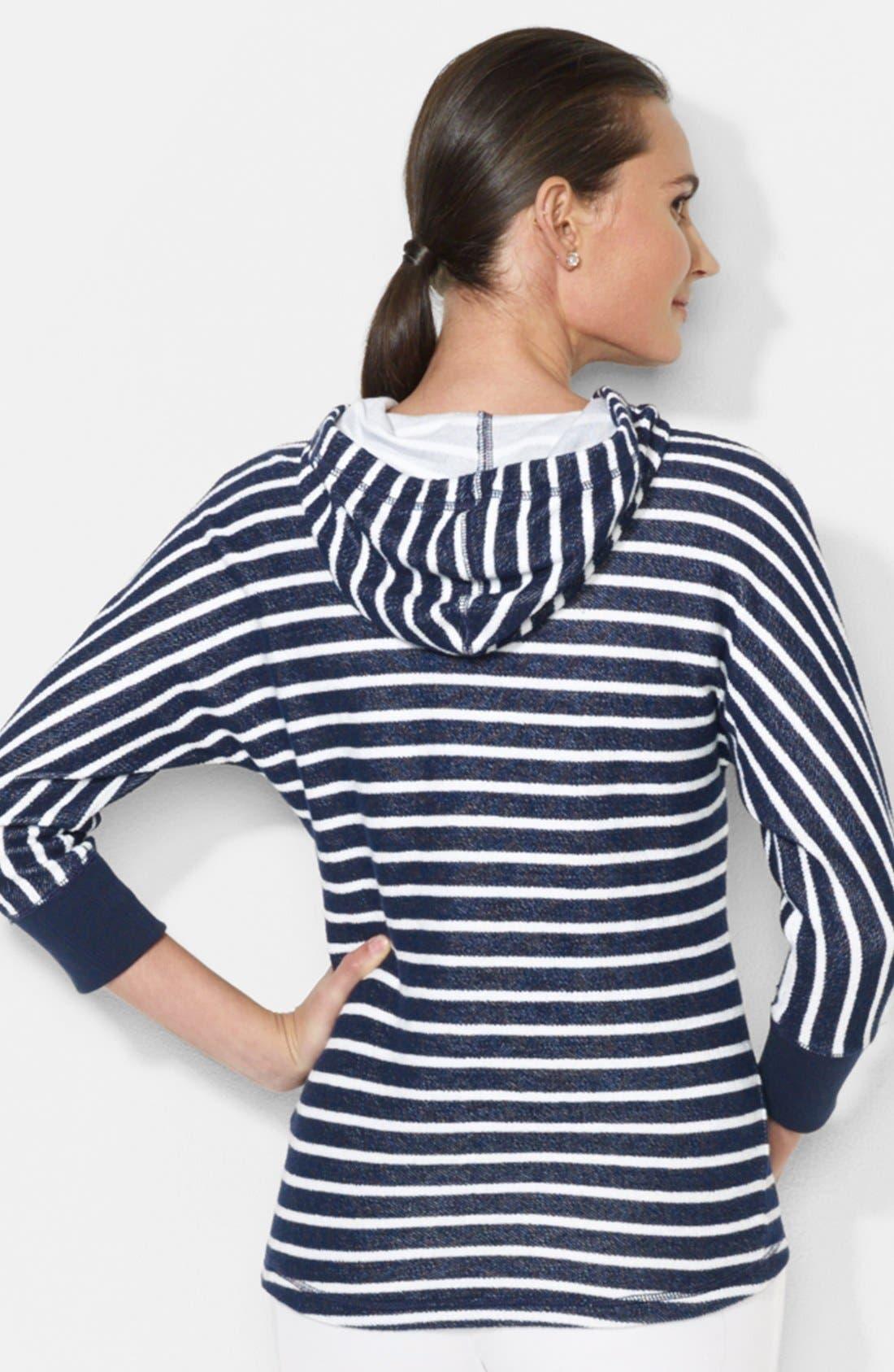 Alternate Image 2  - Lauren Ralph Lauren Stripe Dolman Sleeve Cotton Hoodie