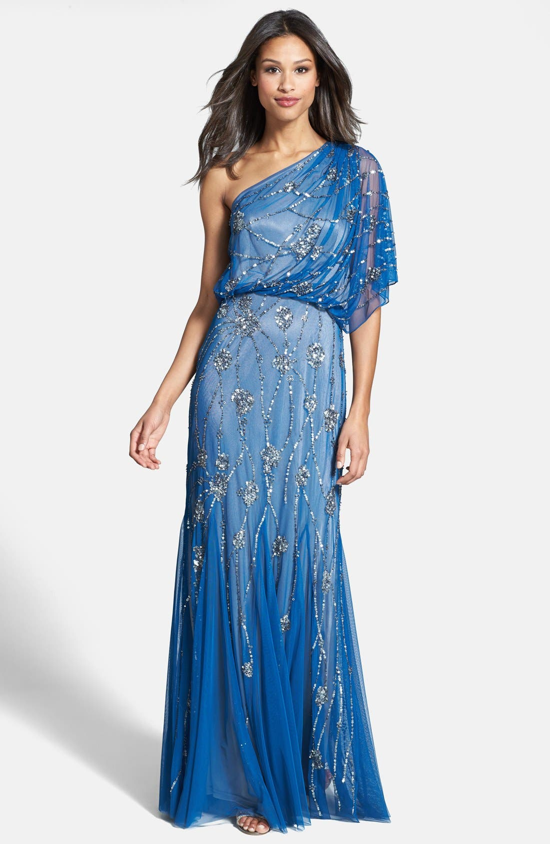 Main Image - Adrianna Papell Beaded One Shoulder Blouson Gown
