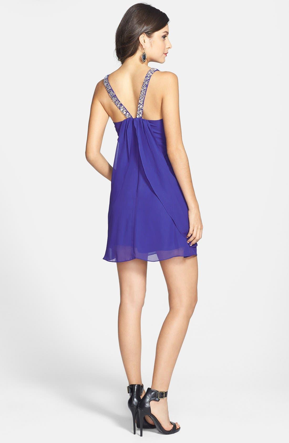 Alternate Image 2  - Hailey Logan Embellished Strap Flutter Dress (Juniors) (Online Only)