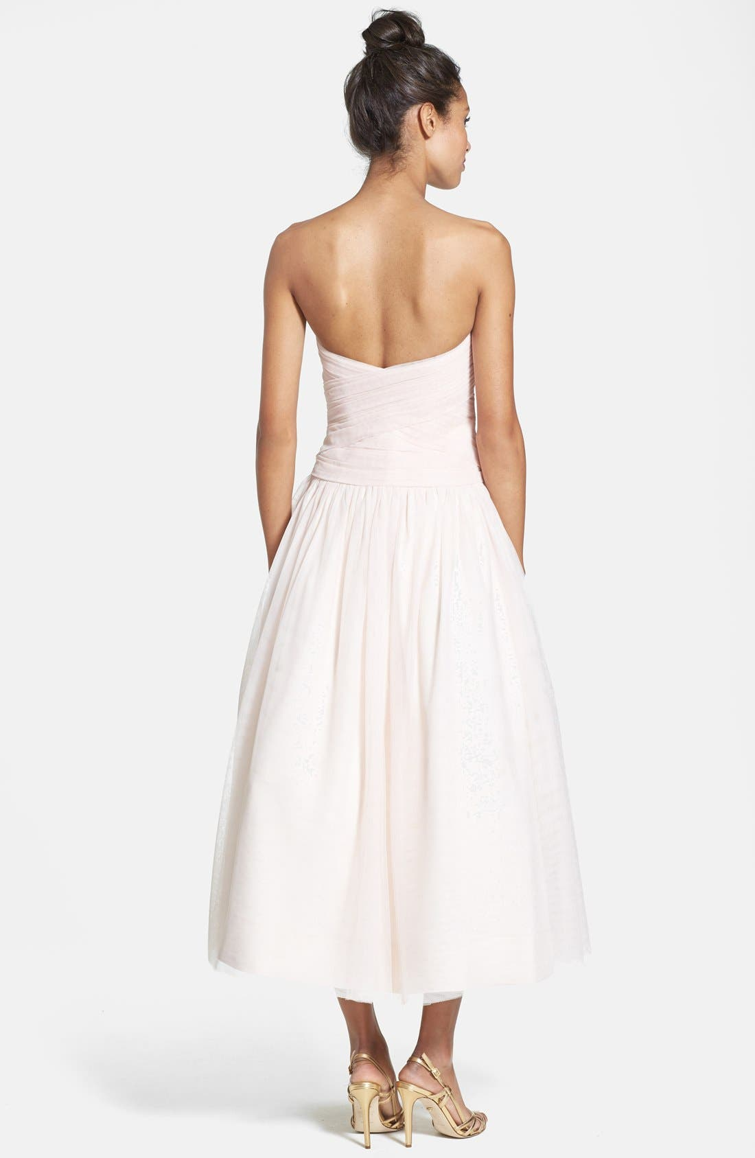 Alternate Image 2  - Monique Lhuillier Bridesmaids Tulle Tea-Length Dress