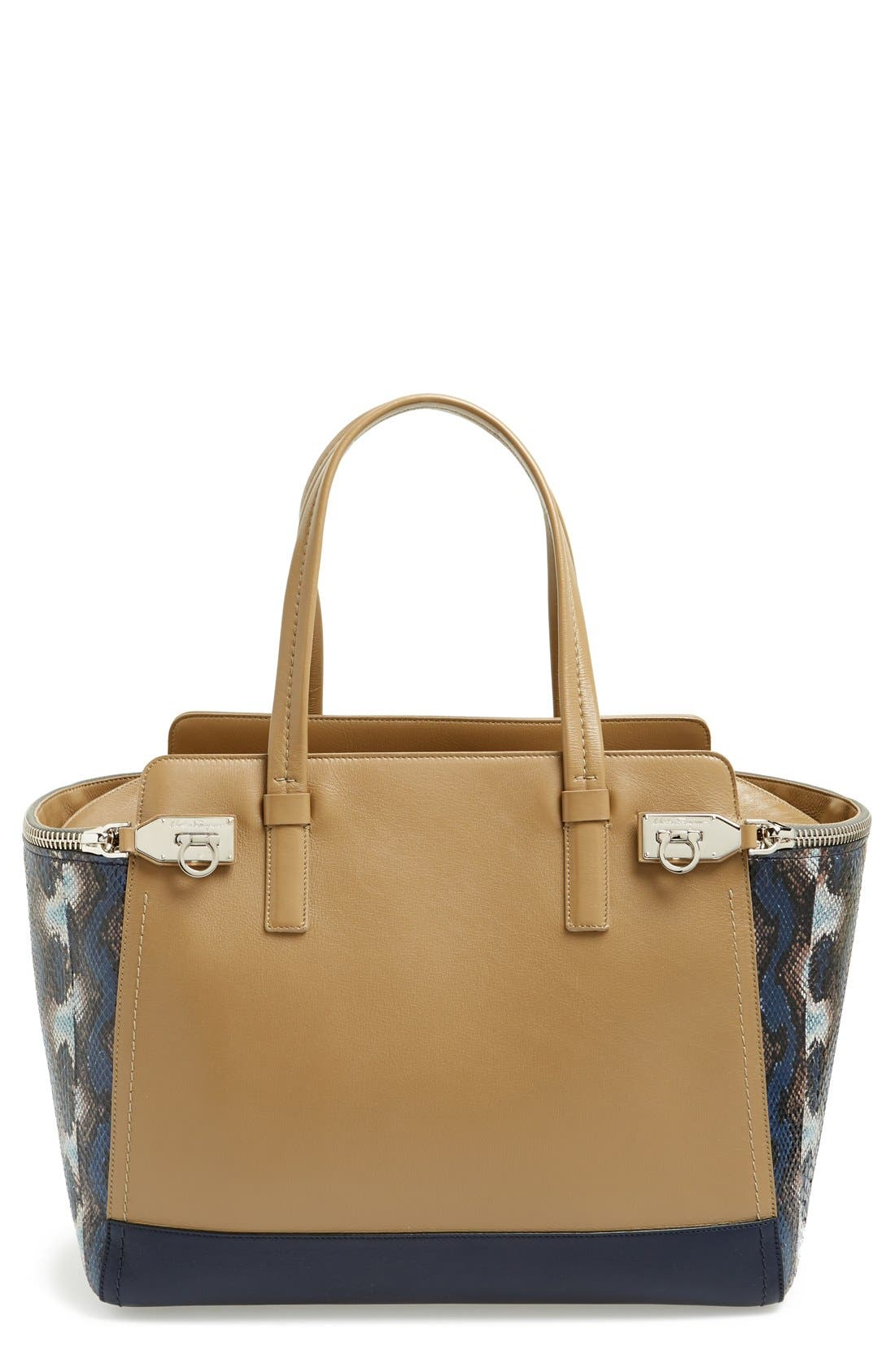 Main Image - Salvatore Ferragamo 'Verve' Leather & Python Satchel