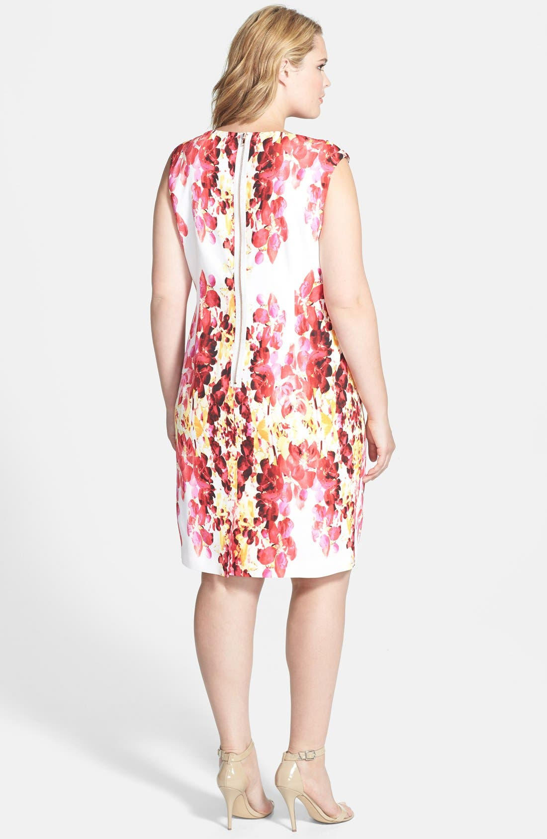 Alternate Image 2  - Adrianna Papell Placed Print Dress (Plus Size)