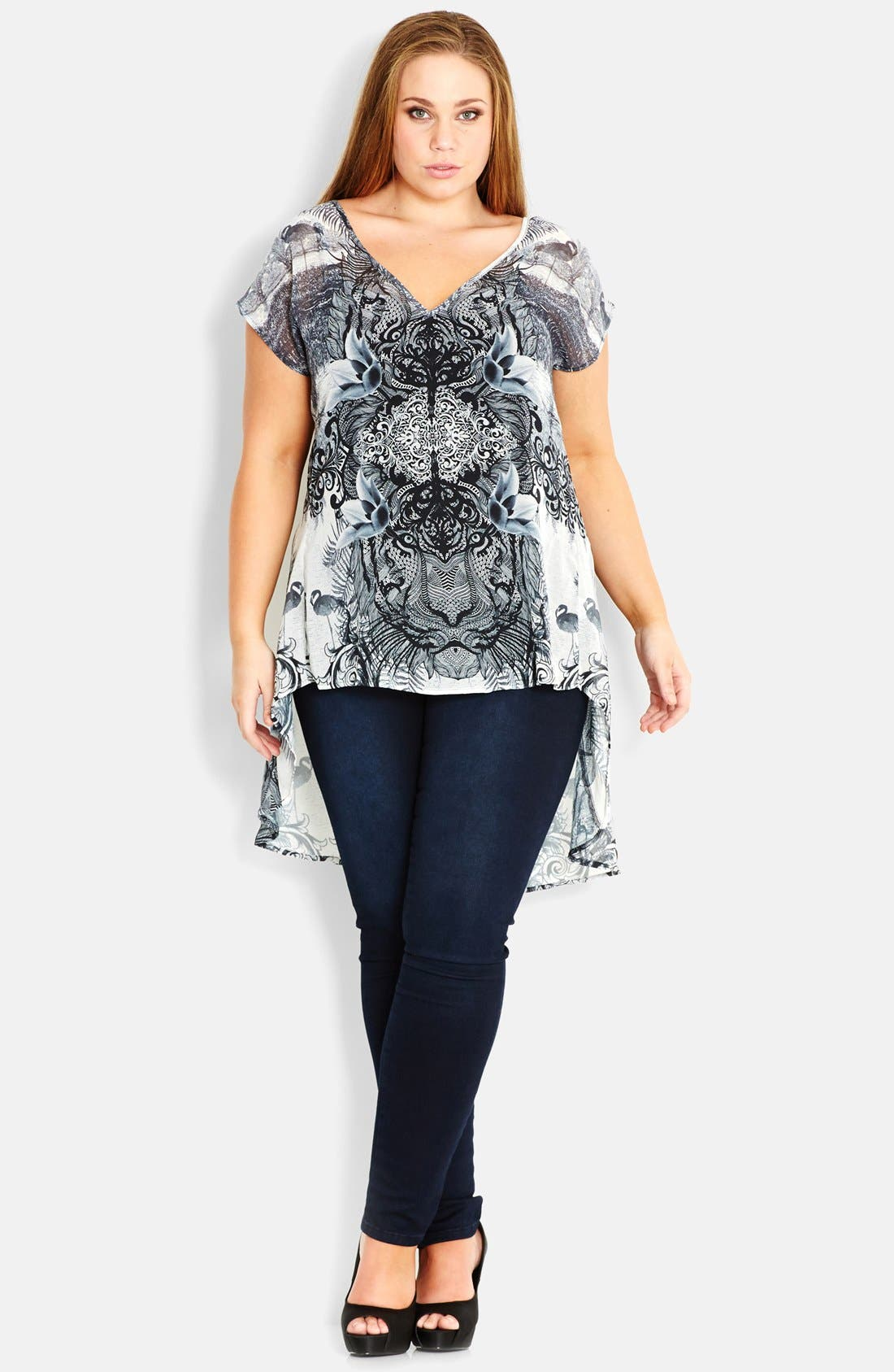 Alternate Image 1 Selected - City Chic 'Tahitian Jungle' High-Low Top (Plus Size)