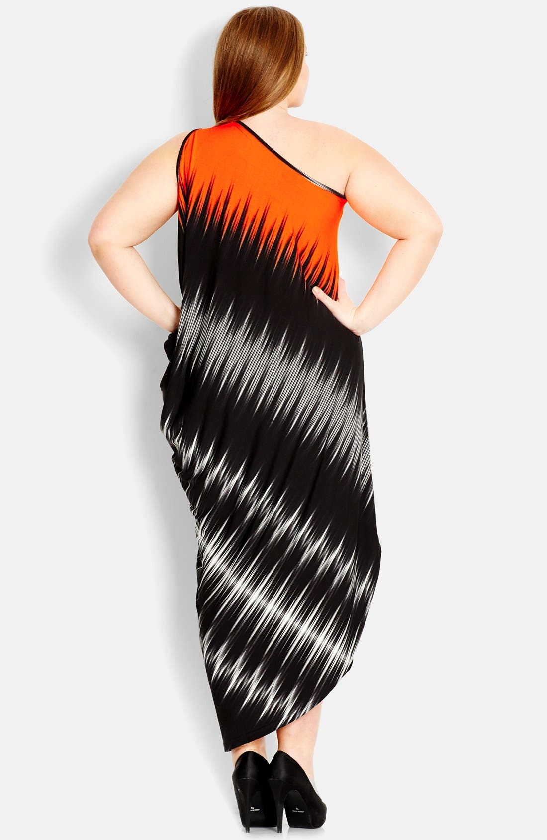 Alternate Image 2  - City Chic One-Shoulder Dress (Plus Size)