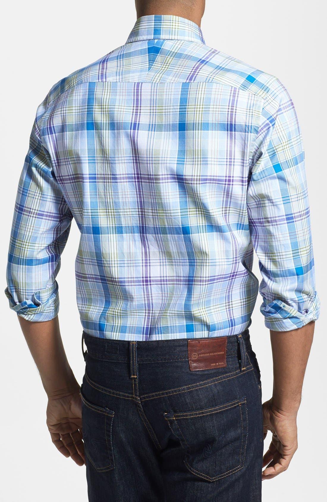 Alternate Image 2  - Robert Talbott Trim Fit Woven Linen Sport Shirt