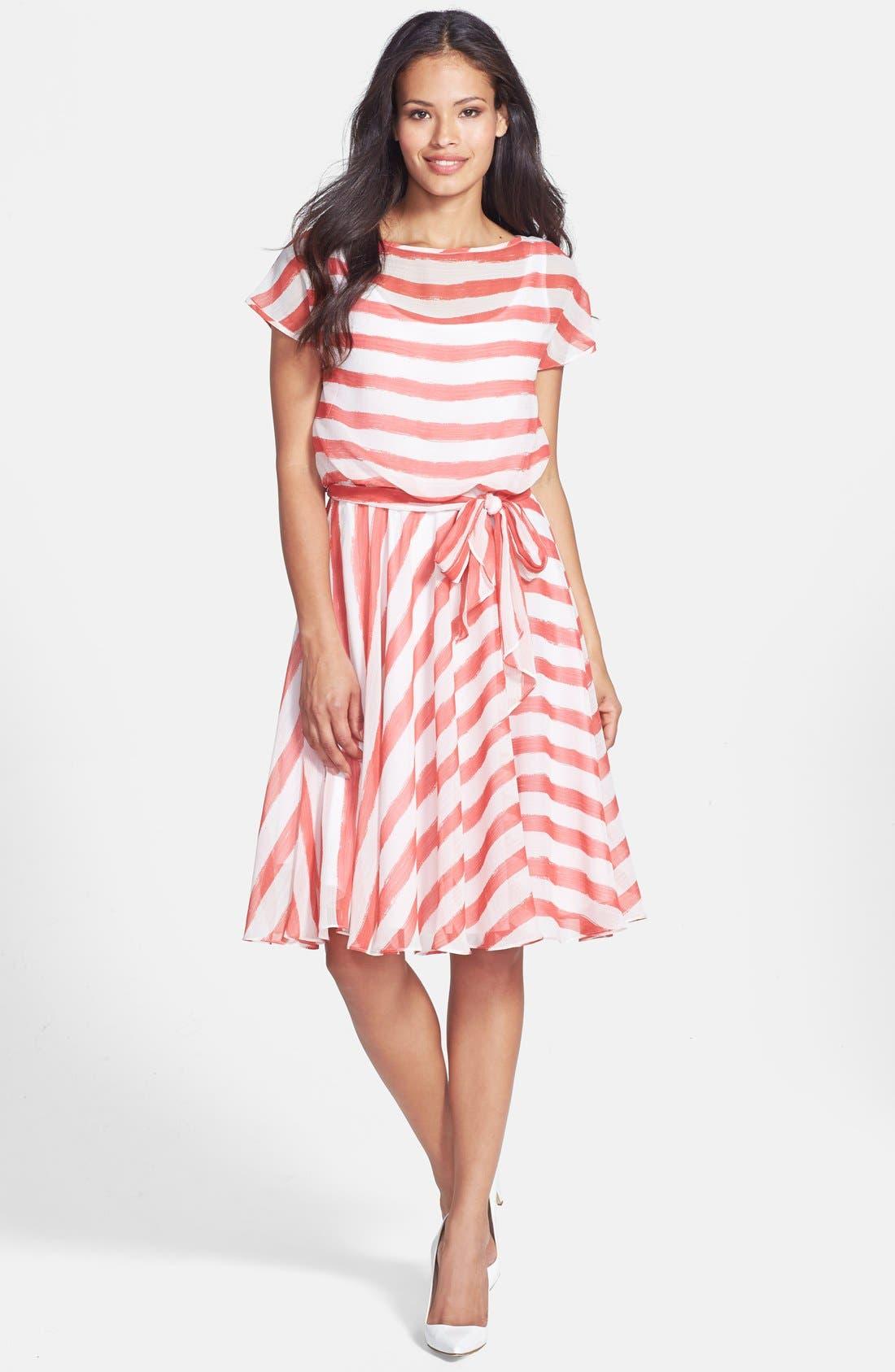 Alternate Image 3  - Isaac Mizrahi New York Belted Stripe Chiffon Dress