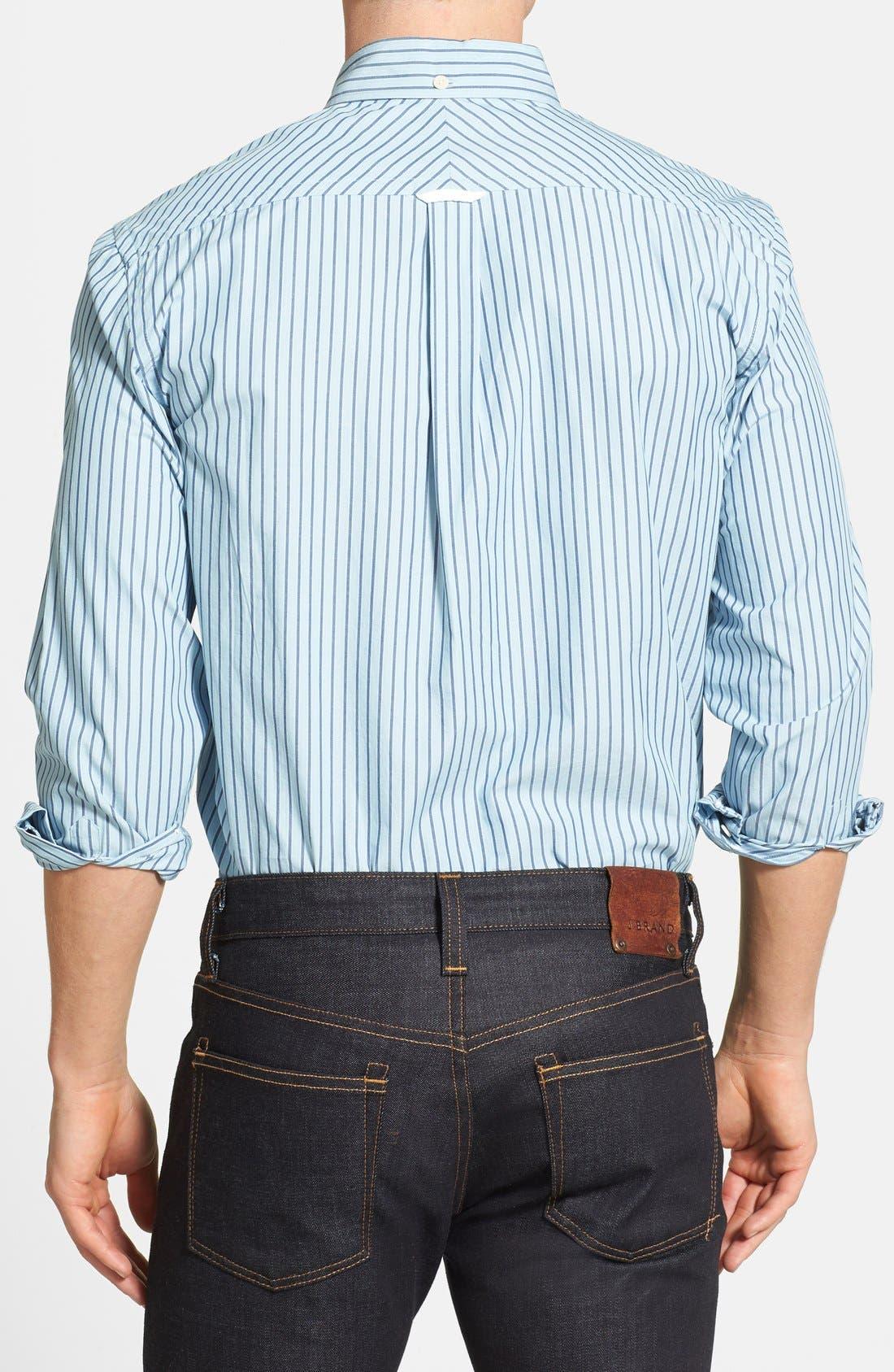 Alternate Image 2  - Haspel Slim Fit Oxford Stripe Button Down Sport Shirt