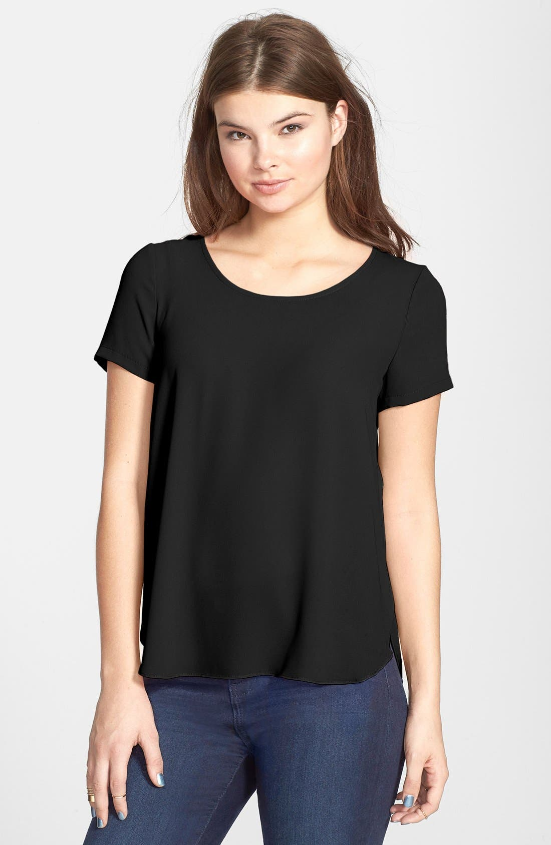 Main Image - Lush 'Lily' Side Slit Woven Tee (Juniors)