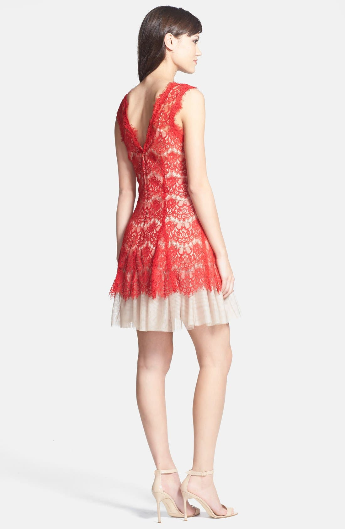 Alternate Image 2  - Betsy & Adam Sleeveless Lace Fit & Flare Dress