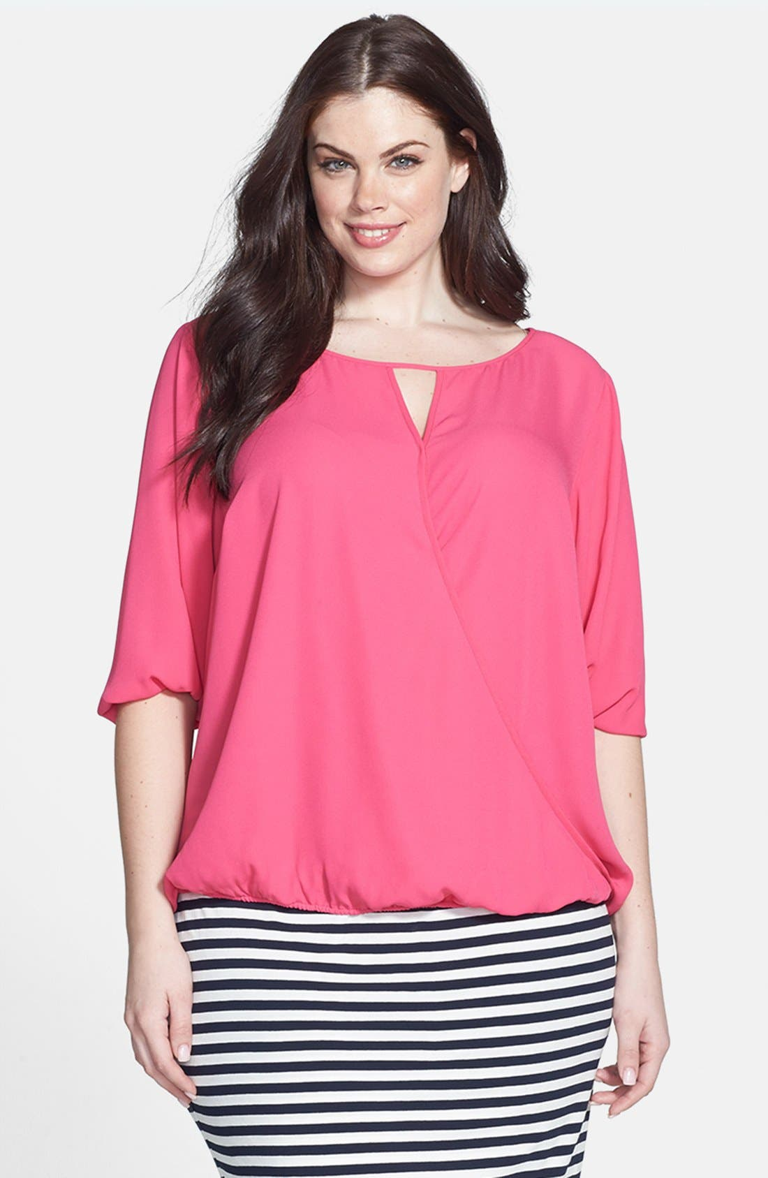 Alternate Image 1 Selected - Vince Camuto Wrap Blouse (Plus Size)