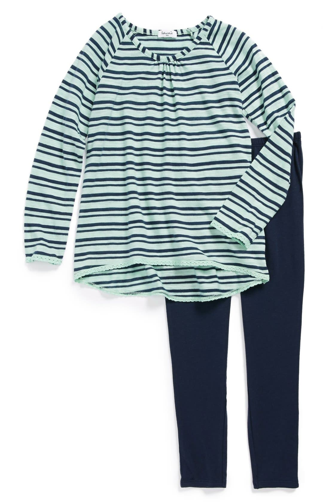 Alternate Image 1 Selected - Splendid Stripe Tee & Leggings (Little Girls)