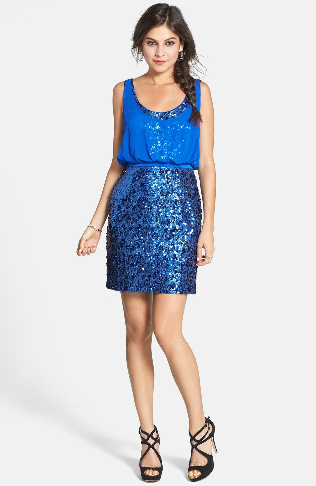 Alternate Image 3  - Aidan by Aidan Mattox Chiffon Overlay Sequin Sheath Dress