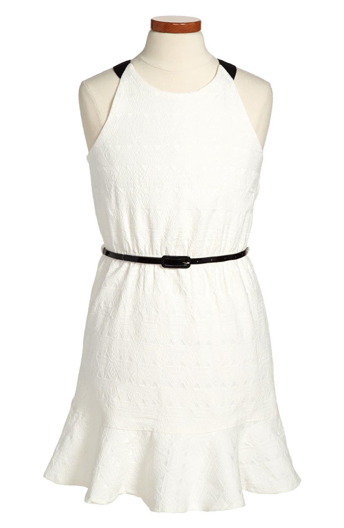 Main Image - Nicole Miller Woven Jacquard Dress (Big Girls)
