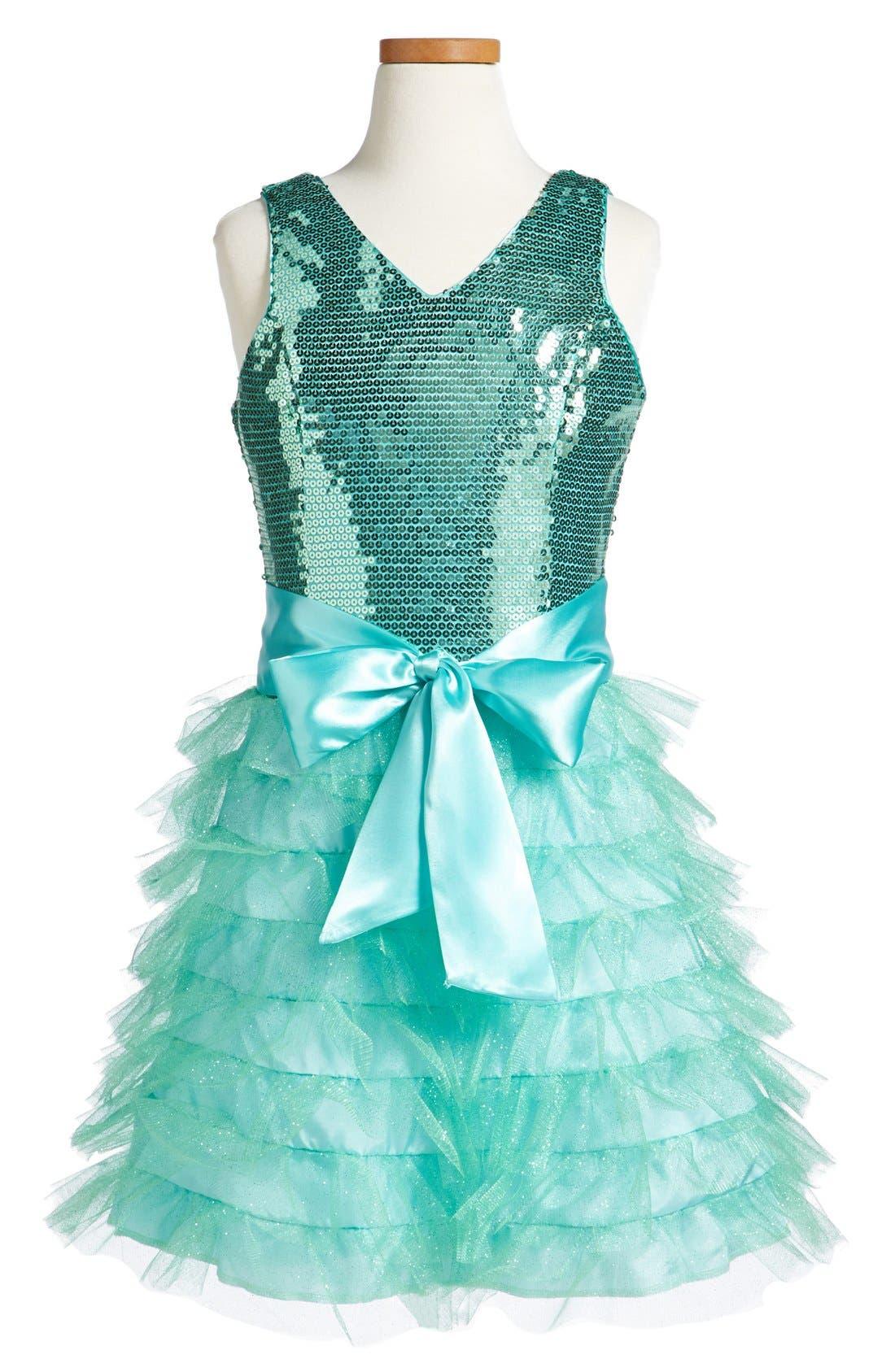 Main Image - Un Deux Trois Tiered Ruffle Dress (Big Girls)