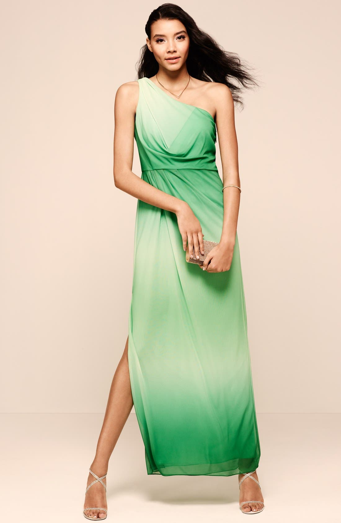 Alternate Image 4  - Hailey by Adrianna Papell One-Shoulder Ombré Blouson Jersey Gown