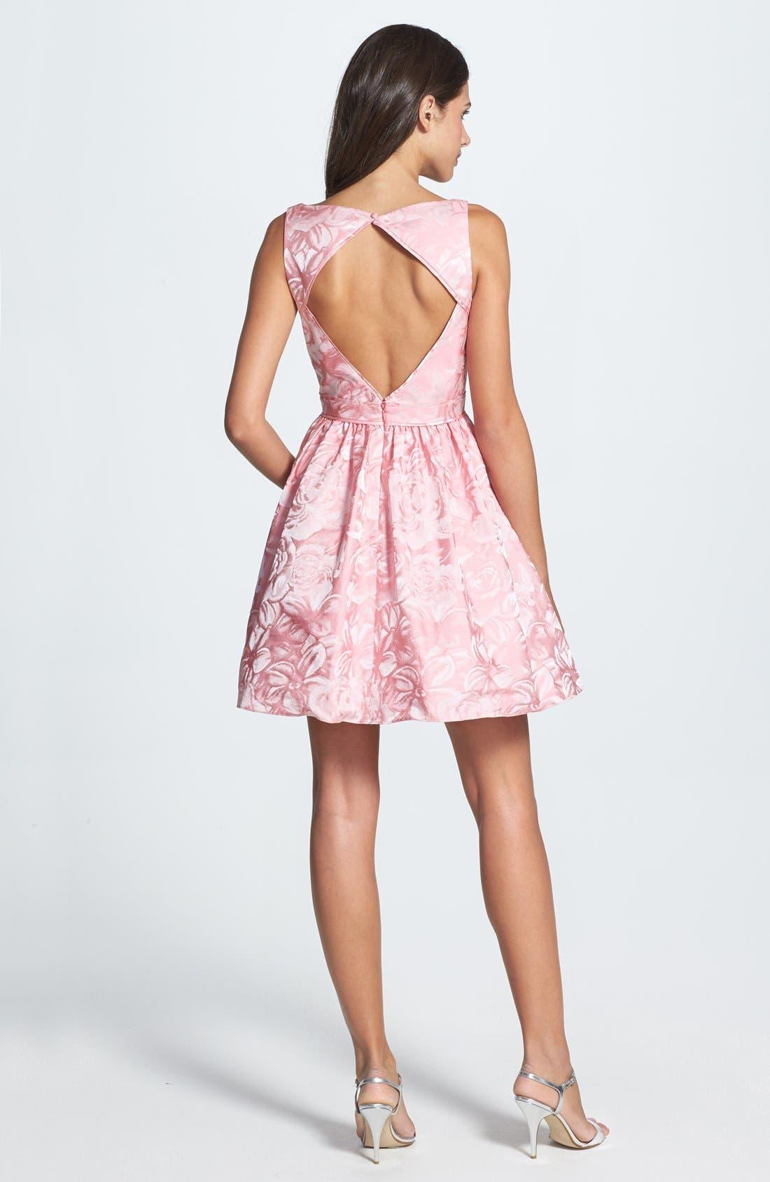 Alternate Image 2  - Aidan Mattox Jacquard Fit & Flare Dress