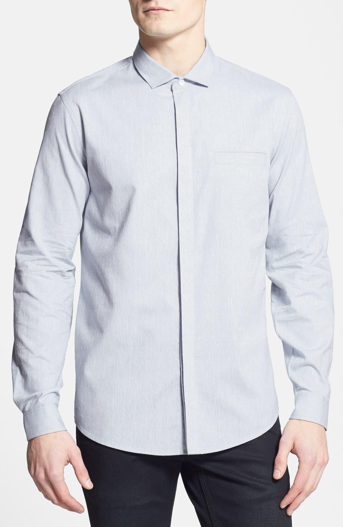 Alternate Image 1 Selected - Topman Slim Fit Dobby Shirt