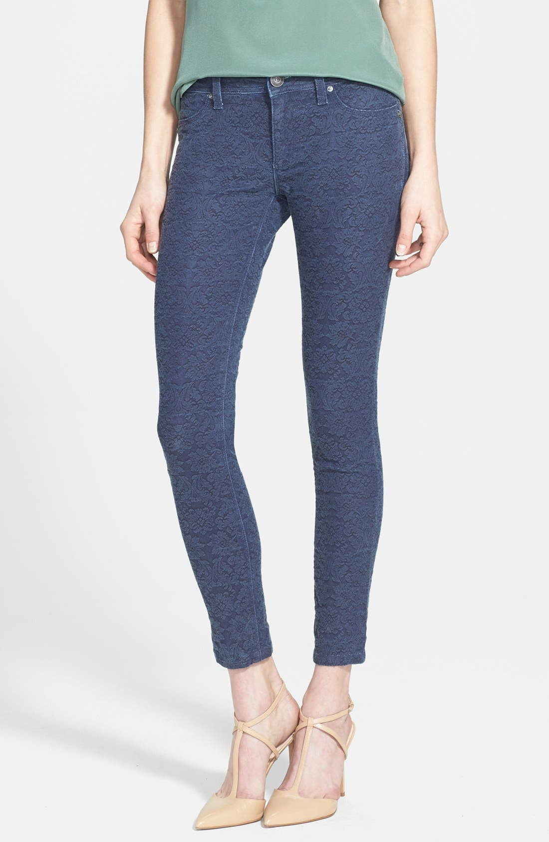Alternate Image 1 Selected - DL1961 'Emma' Damask Print Skinny Ankle Jeans (Rockefeller)