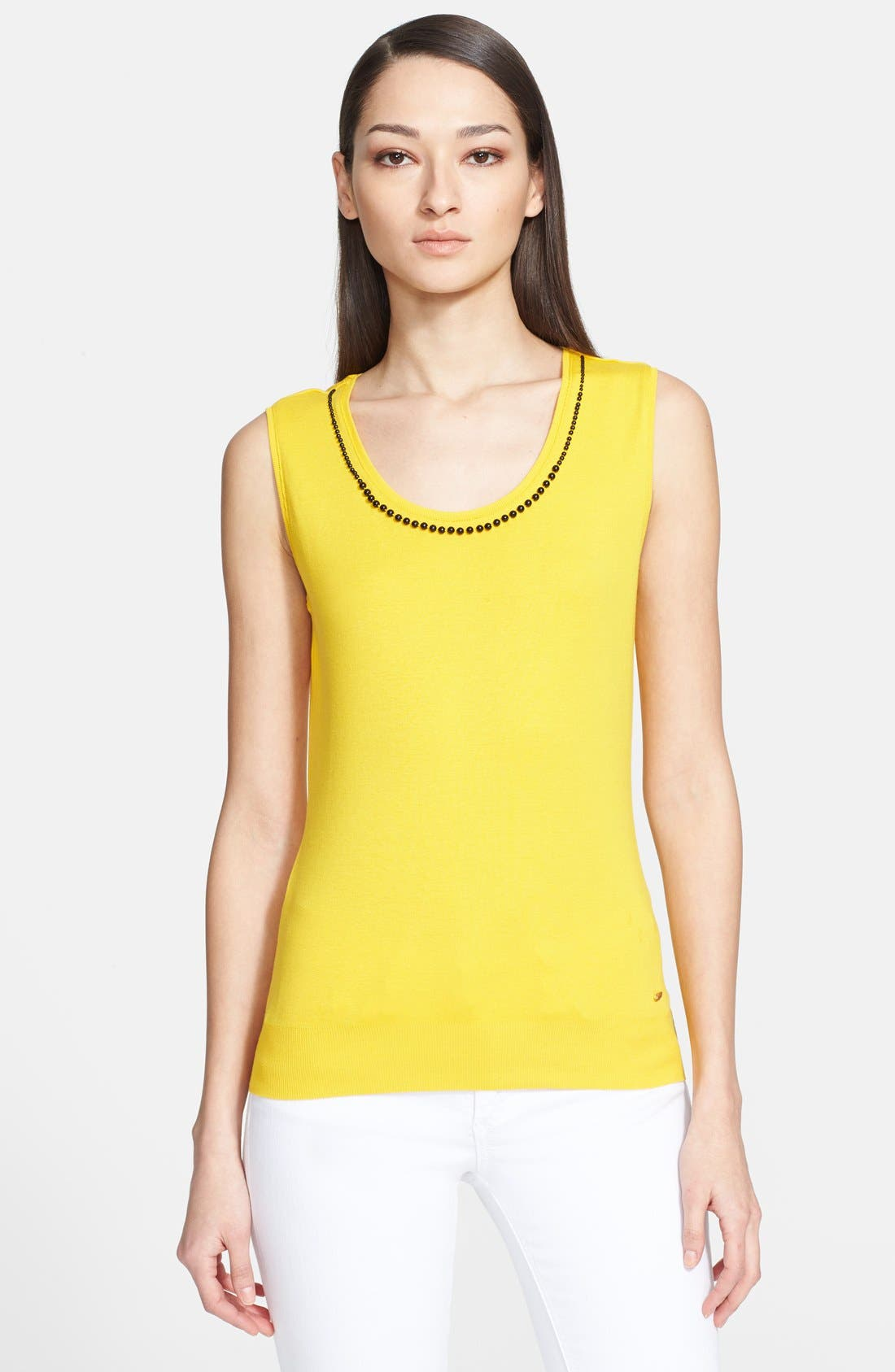 Main Image - ESCADA 'Eglal' Beaded Neck Knit Tank