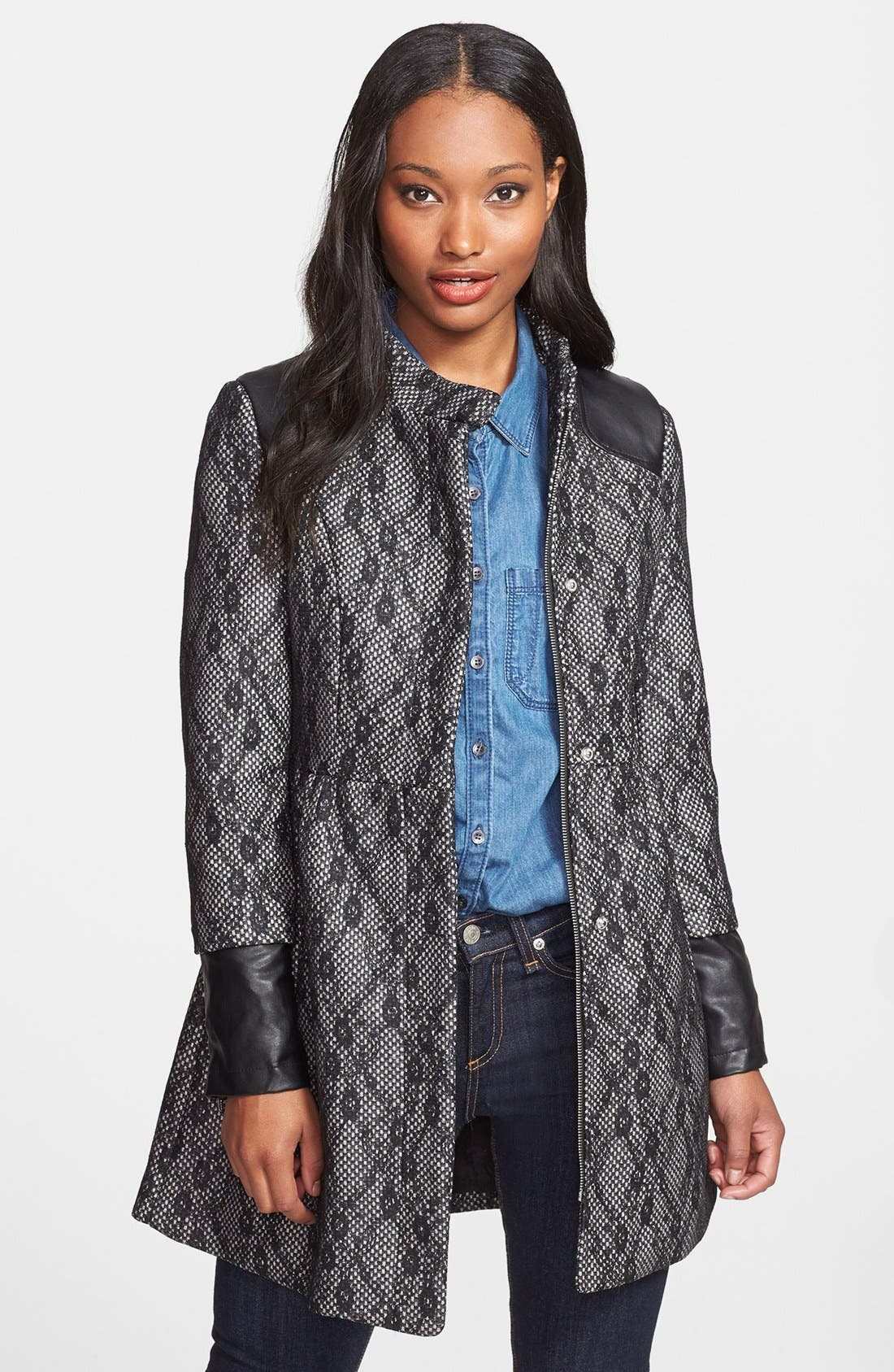 Main Image - Steve Madden Faux Leather Trim Lace Overlay Coat (Petite)