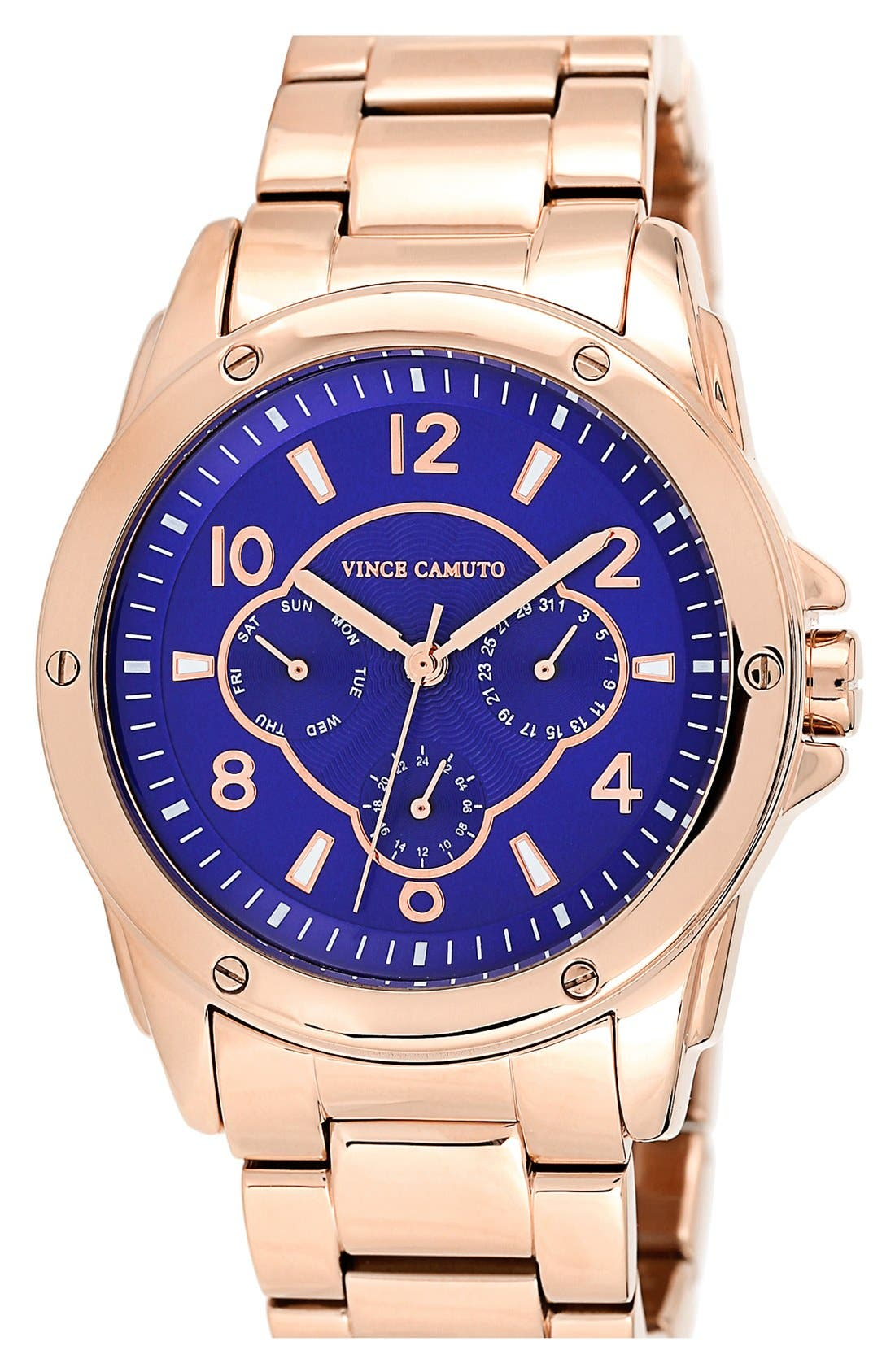 Main Image - Vince Camuto Multifunction Round Bracelet Watch, 43mm